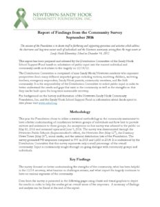 Newtown-Sandy Hook Community Foundation: Report of Findings from the Community Survey September 2016